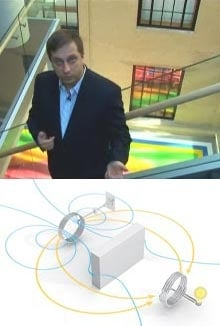 Wireless light: Marin Soljacic (top) and colleagues used magnetic resonance coupling to power a 60-watt light bulb. Tuned to the same frequency, two 60-centimeter copper coils can transmit electricity over a distance of two meters, through the air and around an obstacle (bottom).