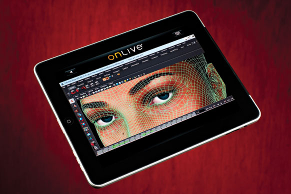 This computationally intensive 3-D animation software appears to be running on a tablet, but is actually running on OnLive's remote servers.