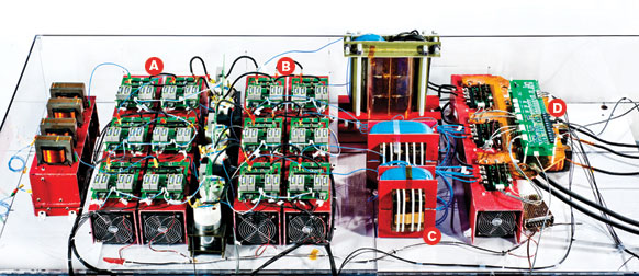 Powerful electronics:The smart transformer can handle AC and DC power and, thanks to semiconductors capable of handling high voltages, be programmed to redirect the flow of electricity in response to fluctuations in supply and demand. A.High-voltage semiconductor-based AC rectifier. B.High-voltage semiconductor-based DC converter. C.High-frequency transformers. D.Control circuitry.
