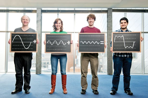 Piotr Indyk, Dina Katabi, Eric Price, and Haitham Hassanieh (left to right) have created a faster way to break down complex signals into combinations of simple waves for processing.