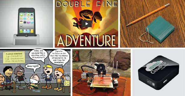 Entrepreneurs can post videos and pictures on Kickstarter to attract pledges for projects. Some success stories (clockwise from top left):  Elevation iPhone dock $1,460,000  Double Fine Adventure (video game) $3,330,000  Twine Wi-Fi sensors $557,000  CloudFTP wireless thumb drive hub $262,000  PrintrBot 3-D printer $831,000  The Order of the Stick (comic book) $1,250,000