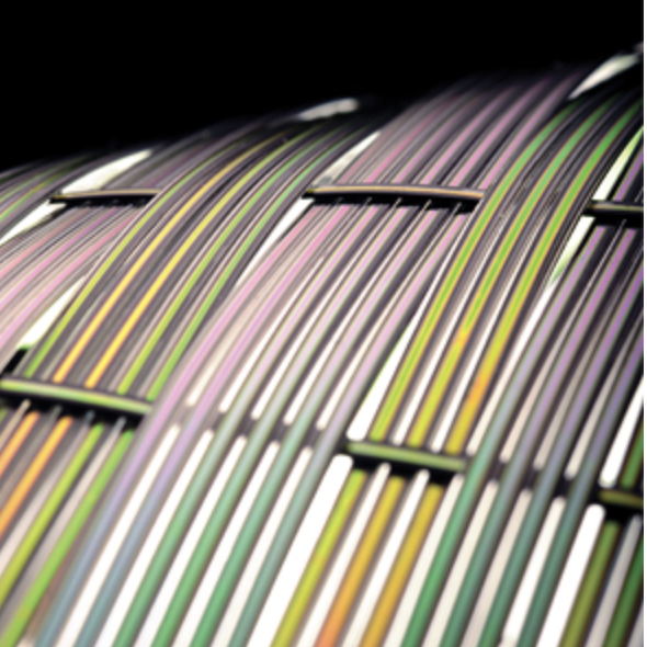 Small fiber-optic wires carry light signals to devices carved with nanoscale ridges that convert the light into sound.