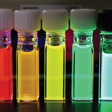 Vials hold some of the nanocrystals that Jain can manipulate with voltage to change their light-related properties.