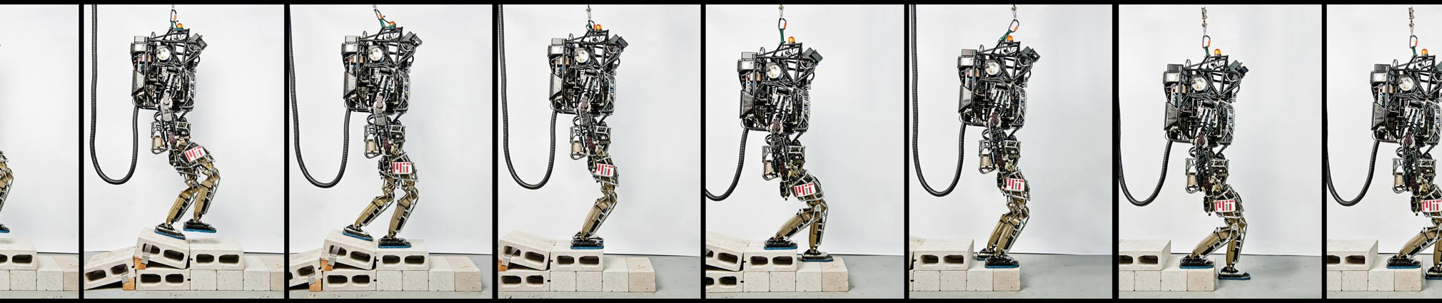 Researchers at MIT, led by Seth Teller and Russ Tedrake, replaced the dynamic balance software that comes with Atlas with their own version. This lets the robot walk relatively quickly over uneven and unfamiliar ground.