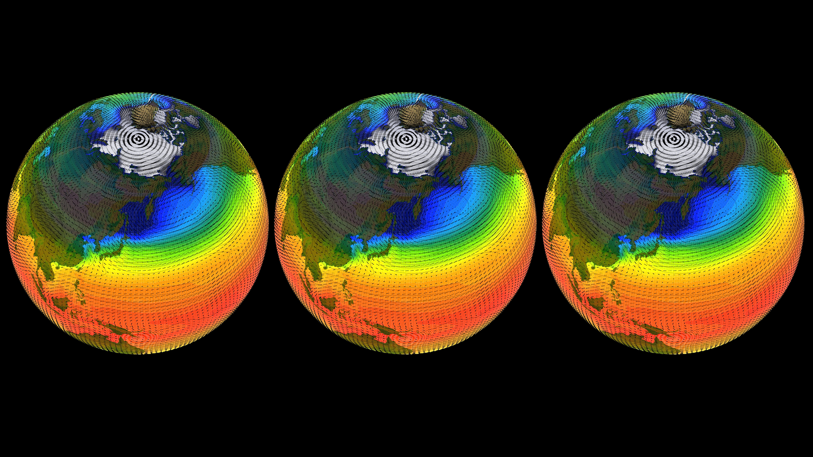 three climate model globes