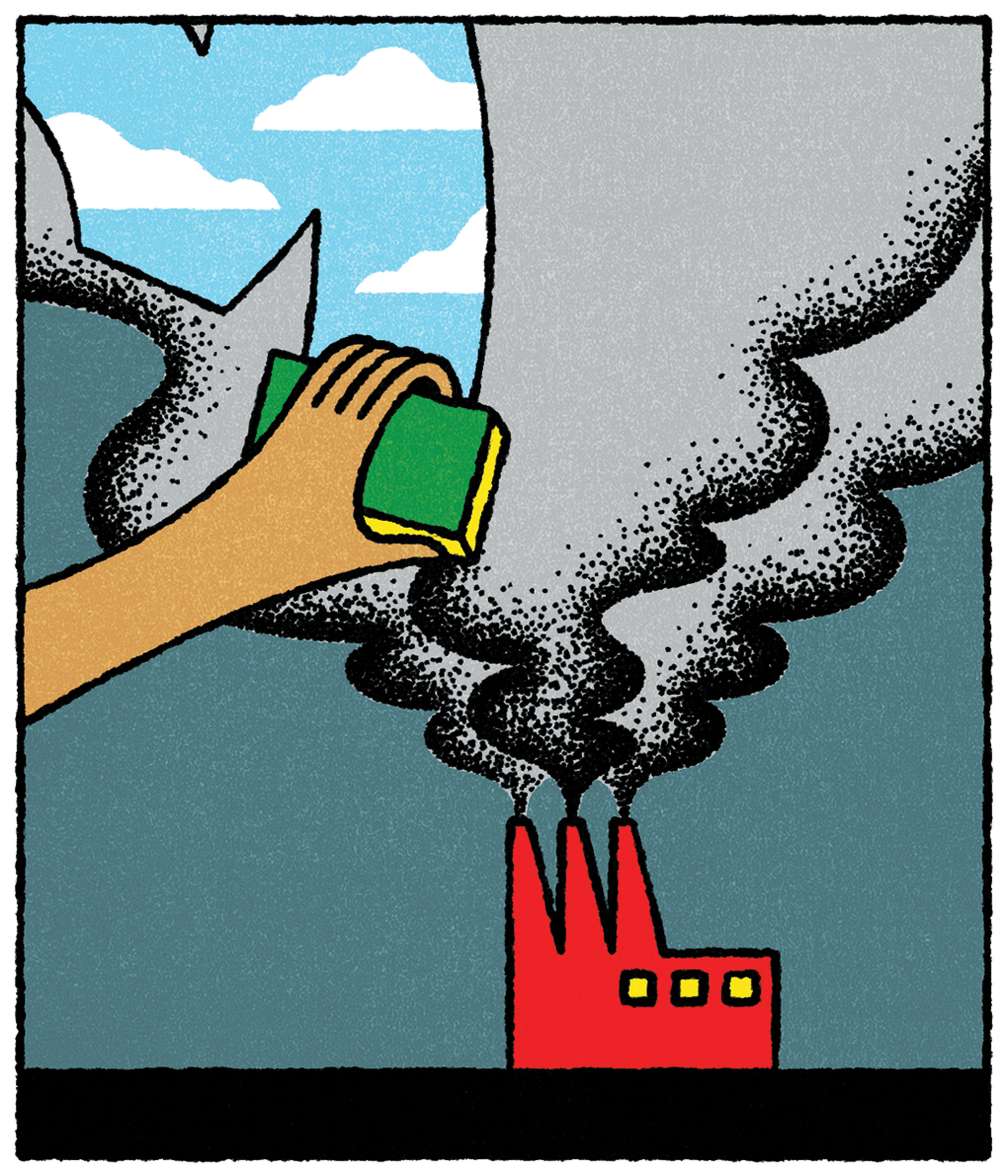 An illustration of a hand wiping away air pollution from the sky above a smokestack.
