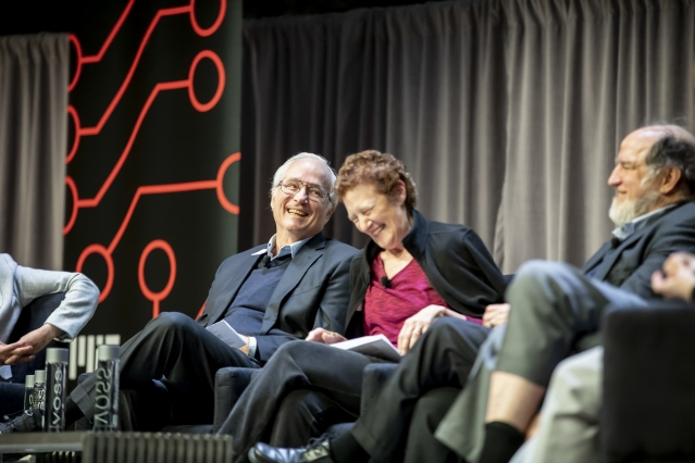A photo taken of panelists at the Hello, World. Hello, MIT event.