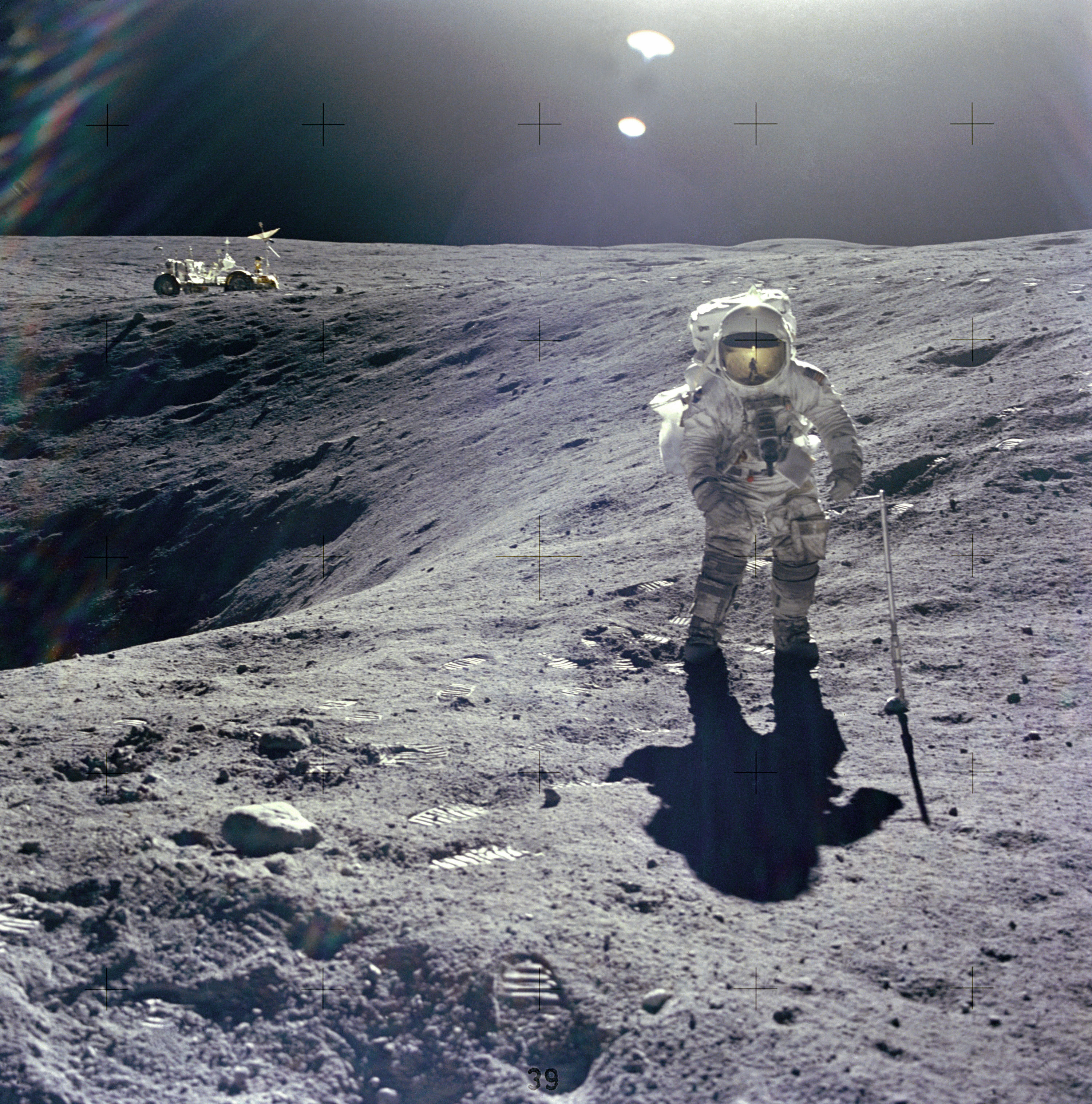 Photo of Duke on the crater's edge
