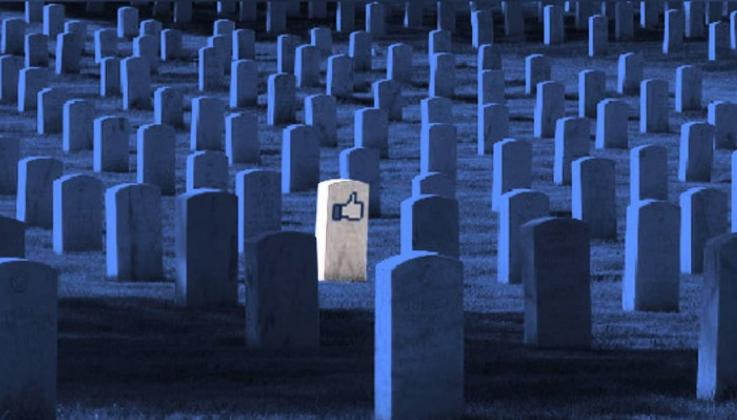 """A gravestone in a cemetery with a Facebook """"like"""" button"""