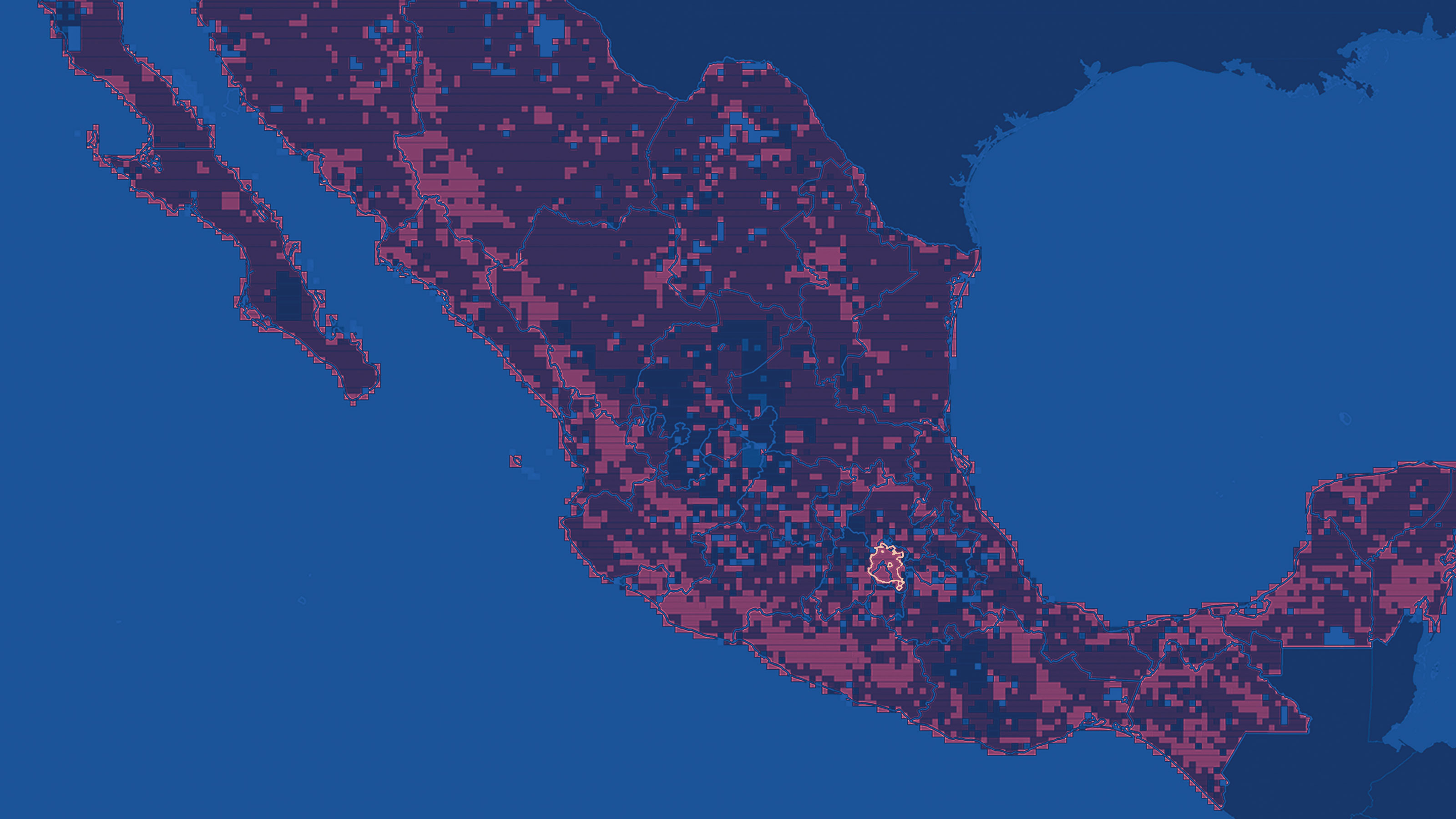 Choropleth map of Mexico showing change in population density