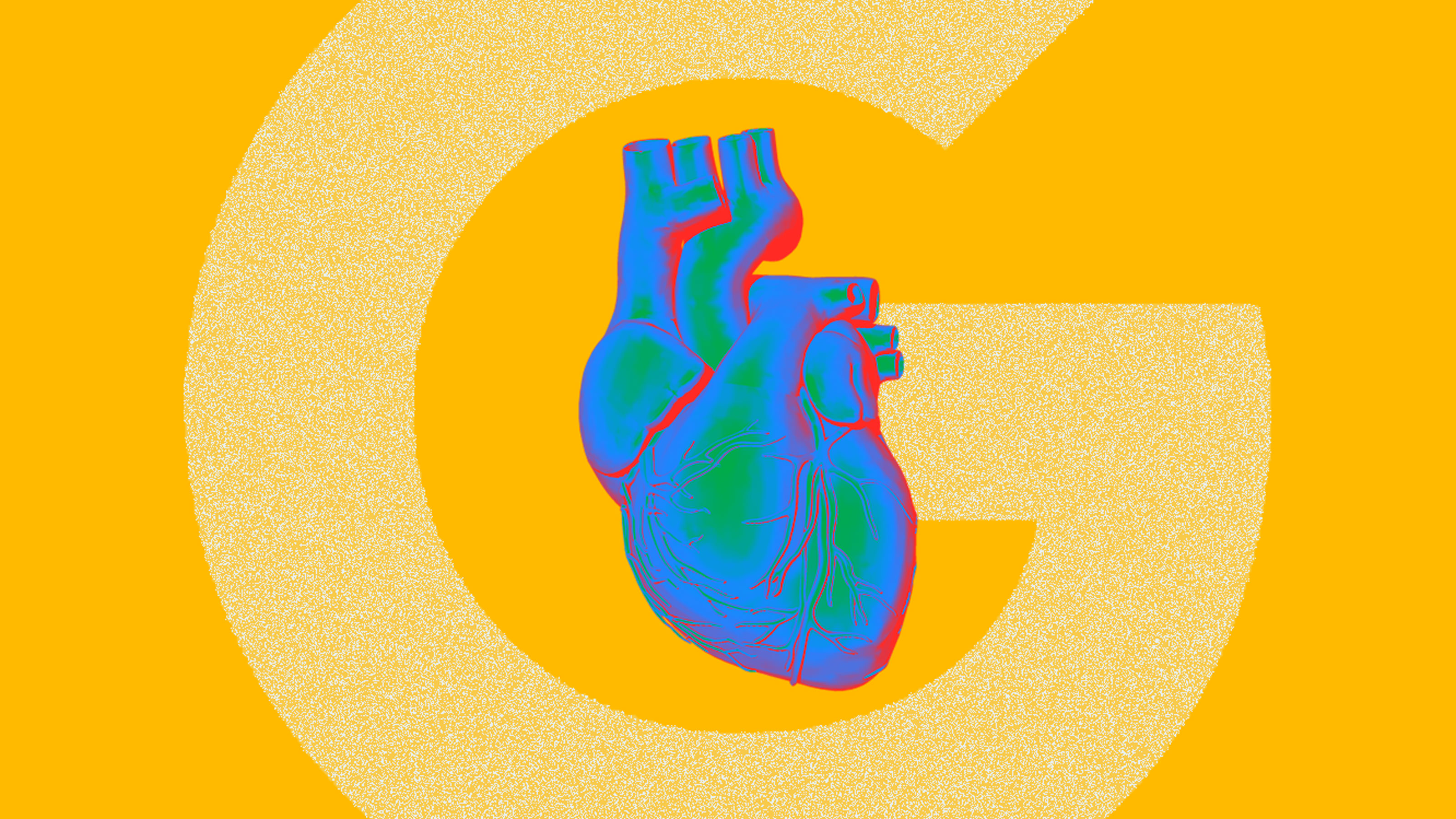 An illustration of a heart with the google logo behind