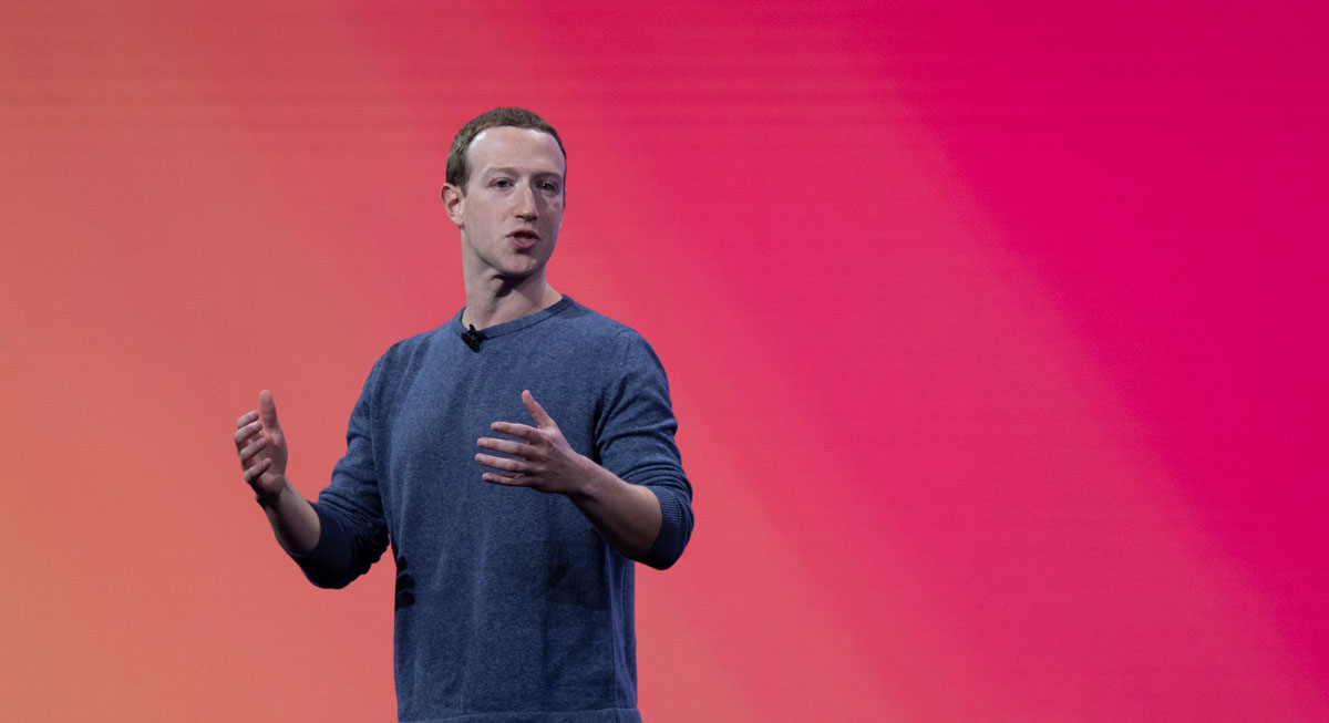 Mark Zuckerberg presenting on stage at Facebook's annual F8 conference in 2019