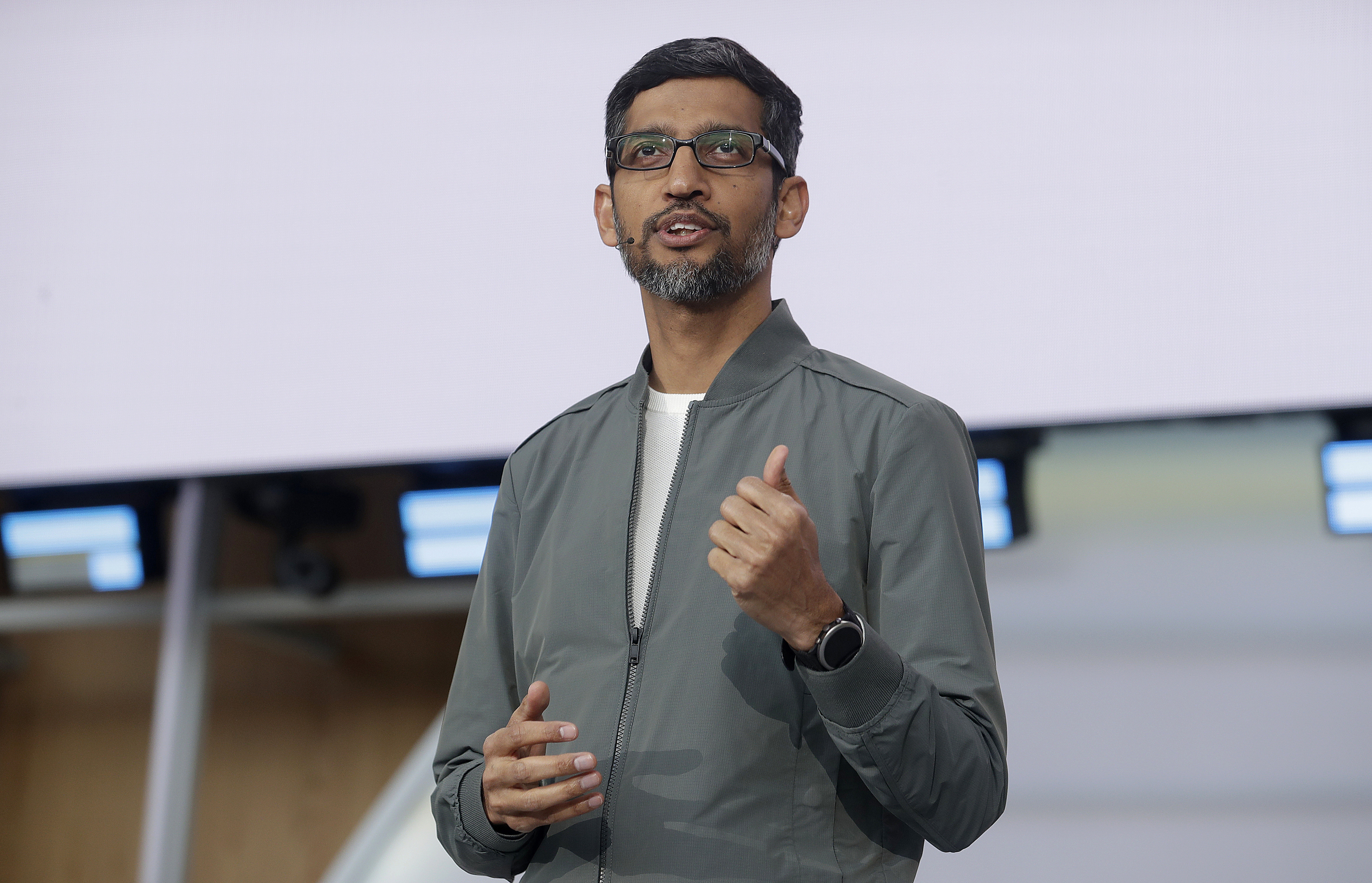 Google CEO Sundar Pichai speaks during the keynote address of the Google I/O conference