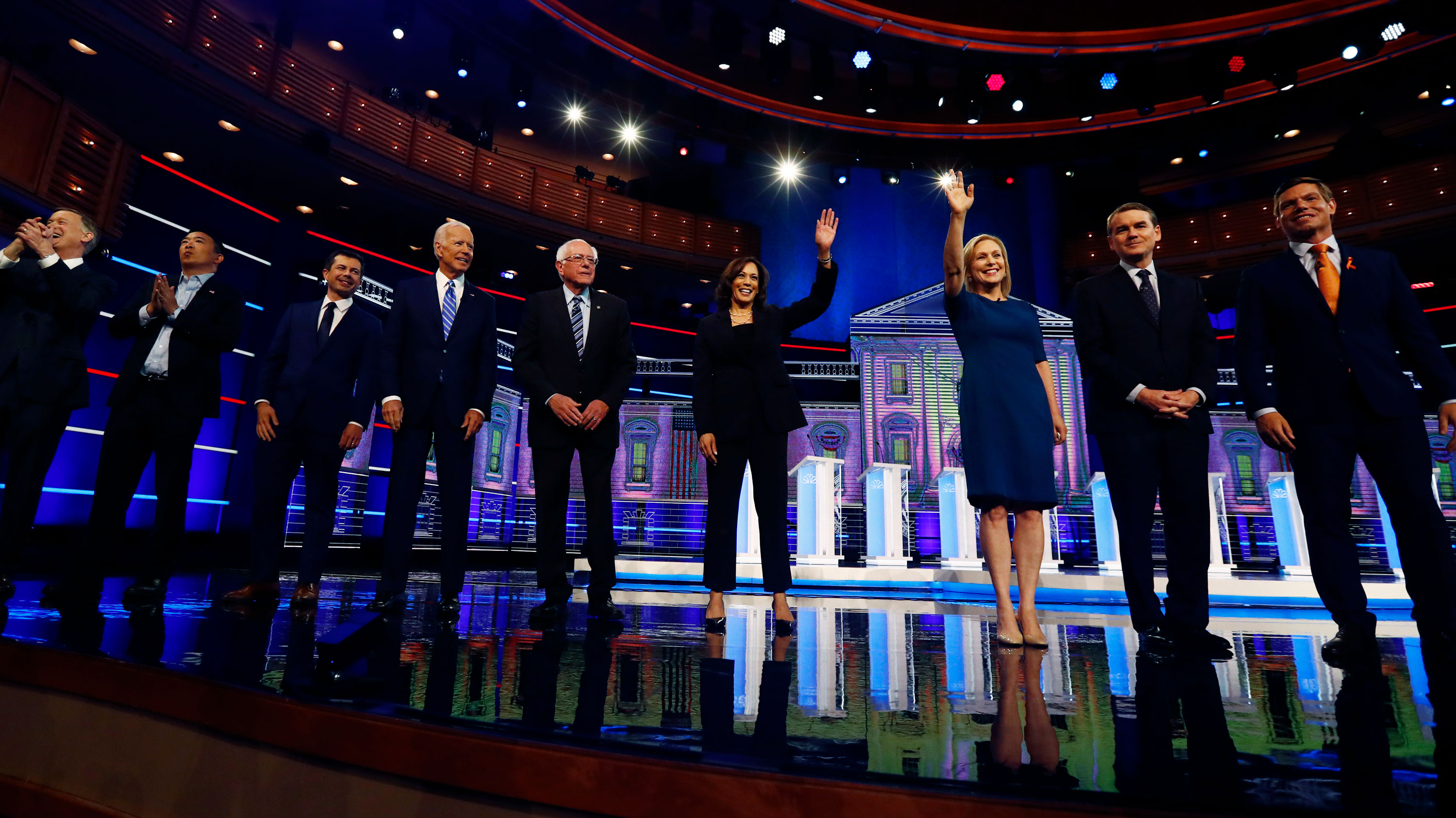 An image of the 2020 Democratic presidential candidates at the July 27 debate.