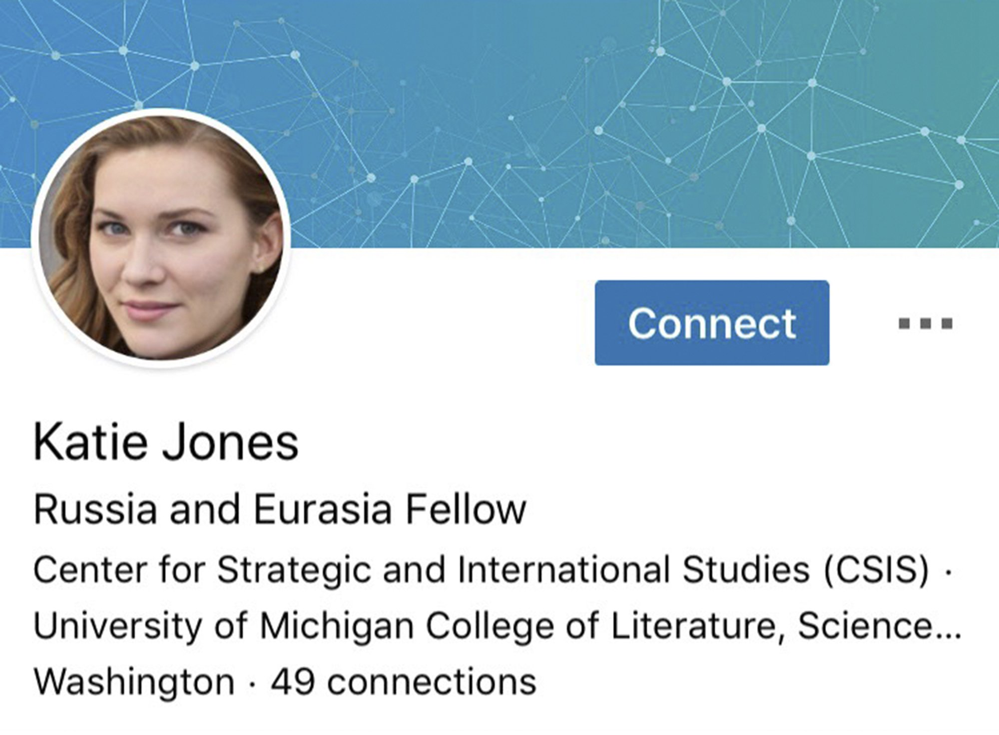 An image of a fake LinkedIn profile of the persona Katie Jones.