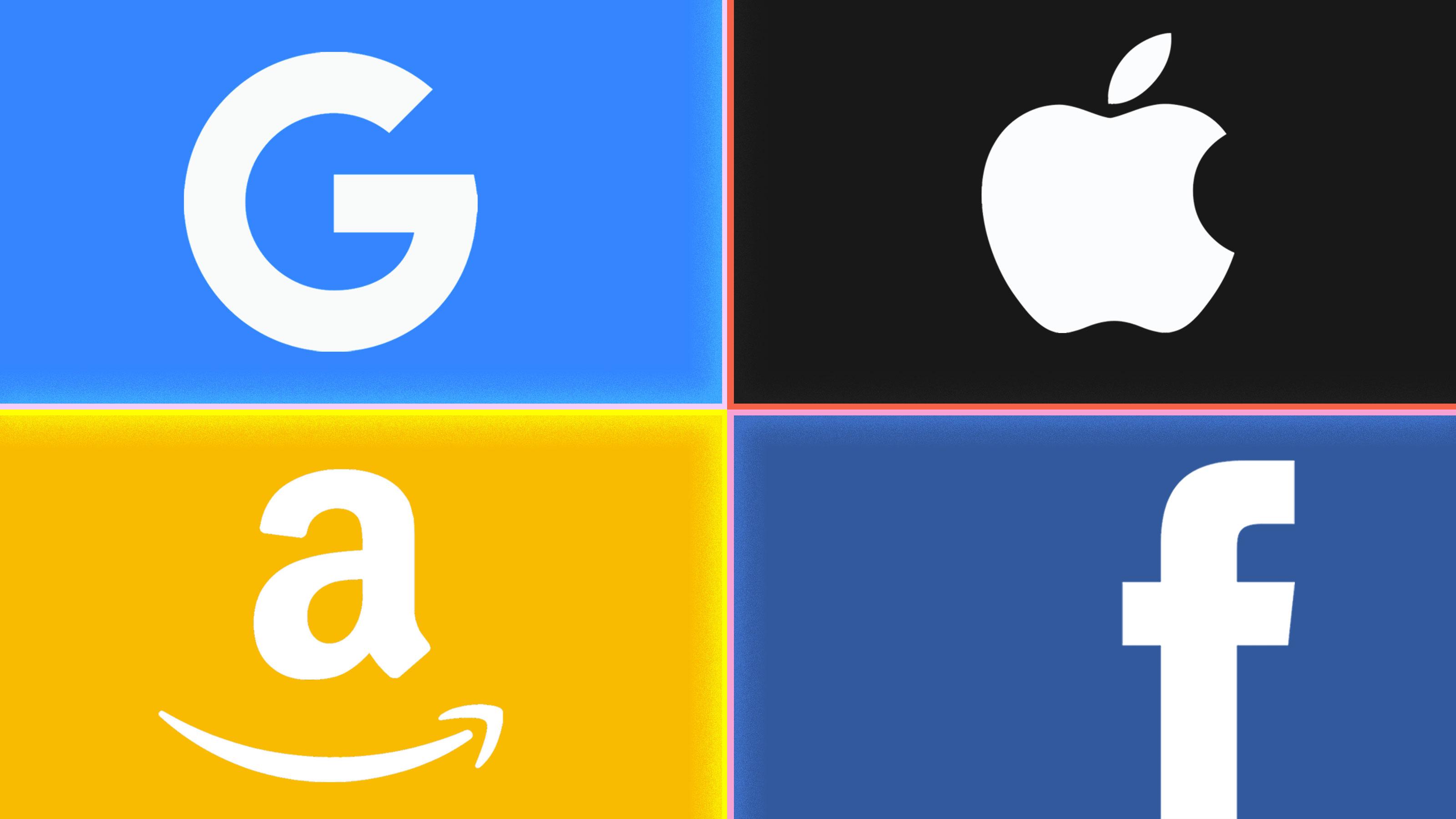 Google, Facebook, Amazon, Apple logos