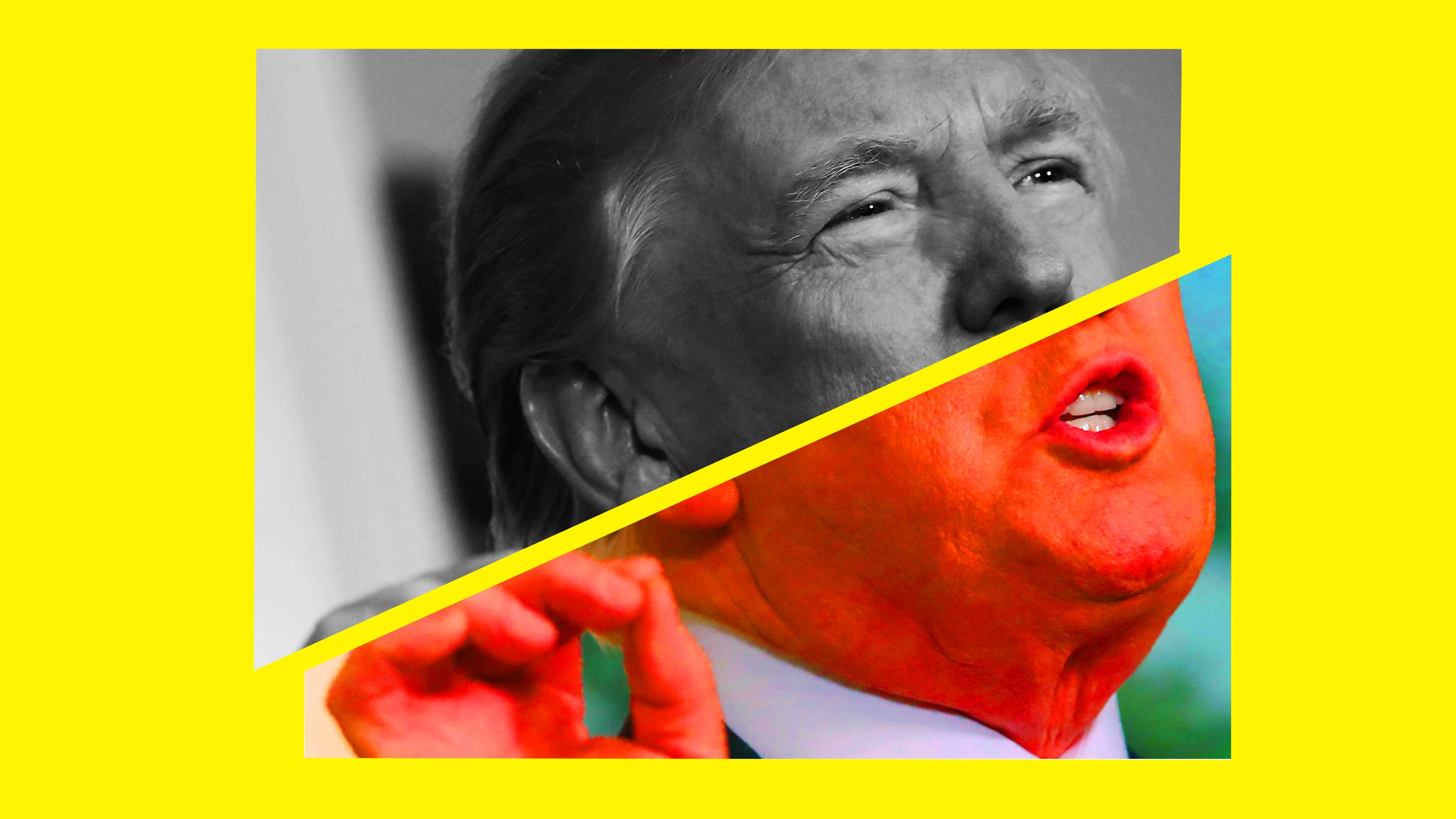 A photo illustration of President Trump, one half in black and white and the other half very saturated