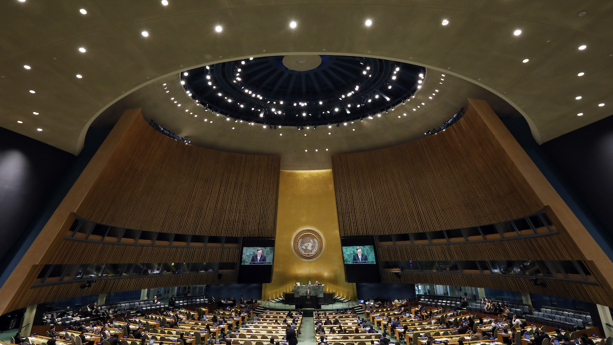 An image of the United Nations General Assembly.