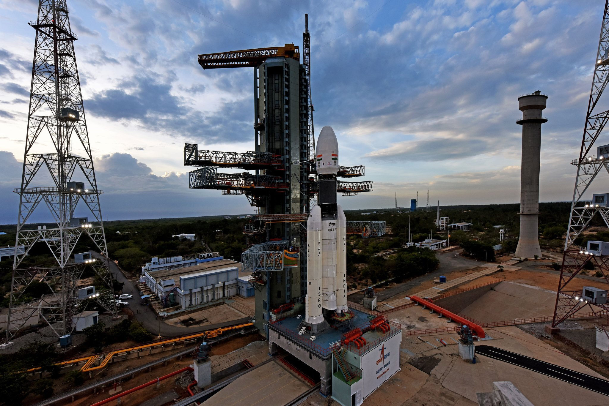 India's Geosynchronous Satellite Launch Vehicle Mark III rocket sits on the pad awaiting liftoff