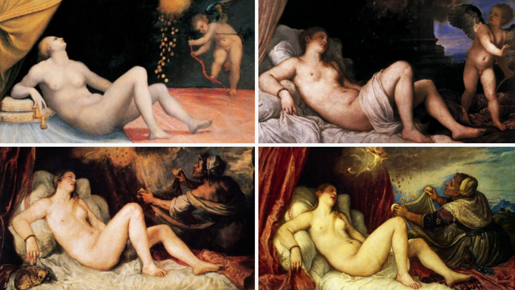 Image of four paintings with similarly posed subjects