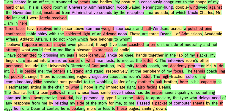Text from Infinite Jest analyzed by the Harvard-MIT-IBM tool.