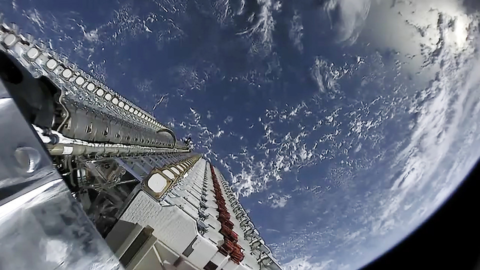 SpaceX's 60 broadband satellites being taken up into orbit