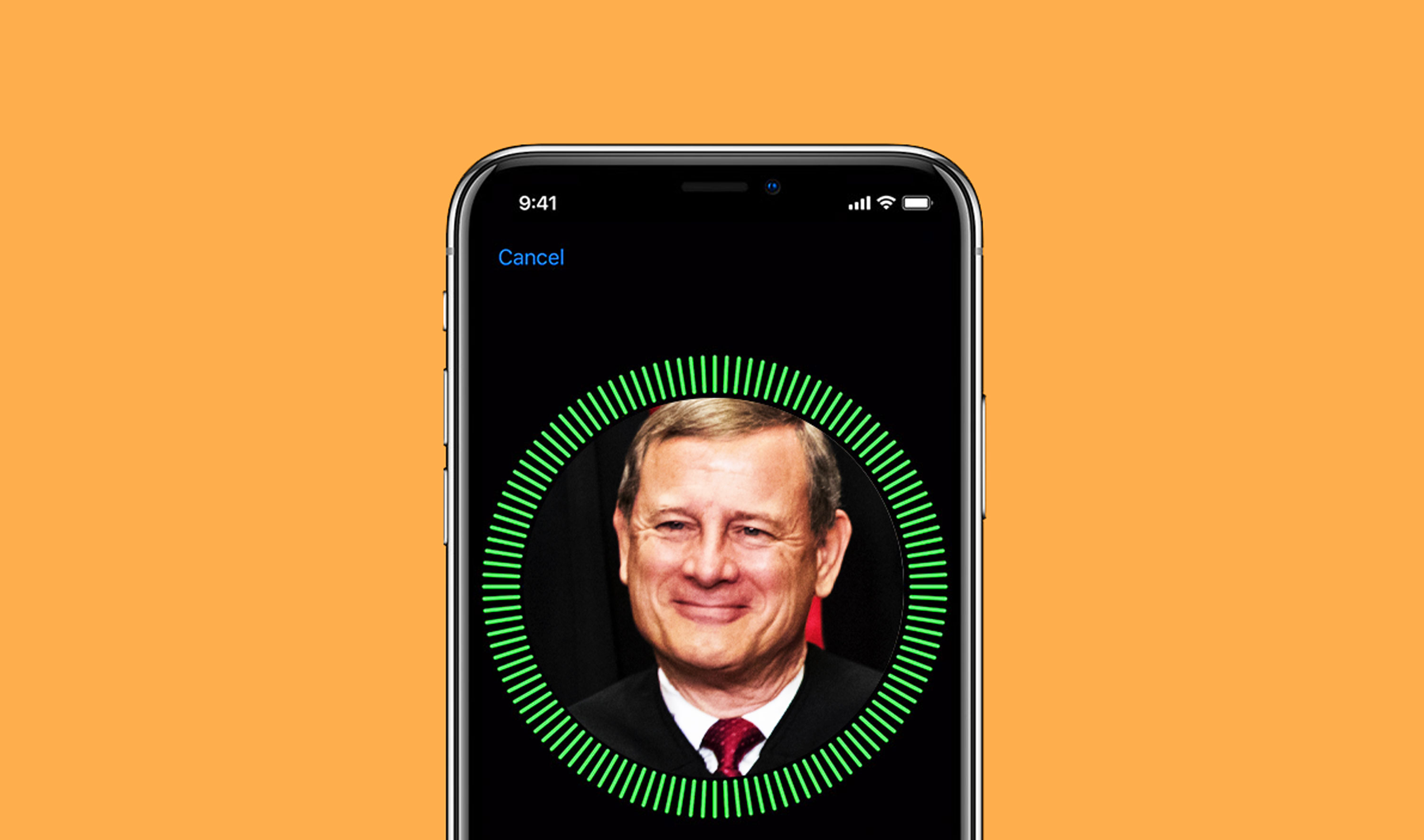 An iphone image showing Face ID set up screen with Justice John Roberts's face