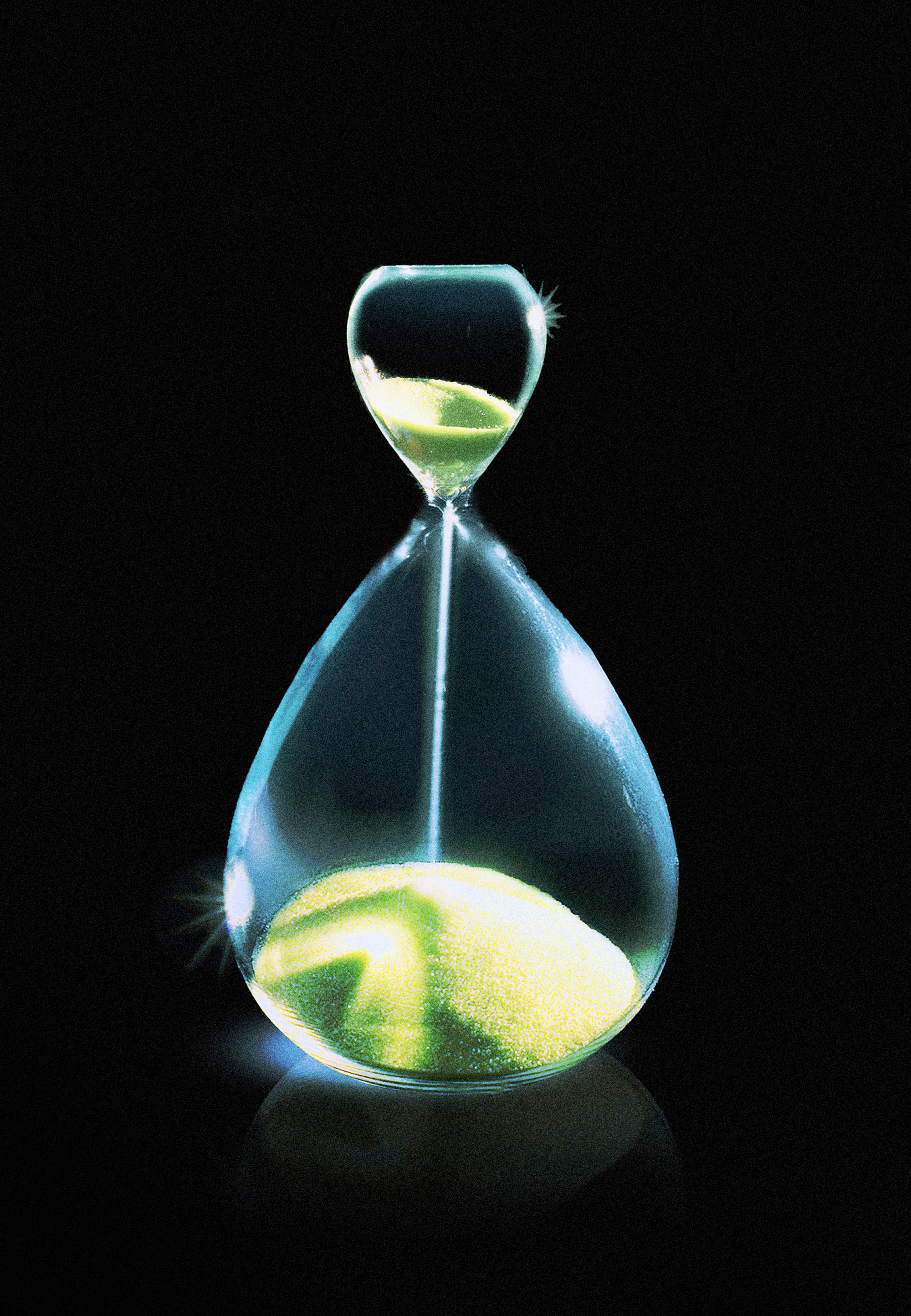 An image of an hourglass with a shrunken top half and enlarged bottom half