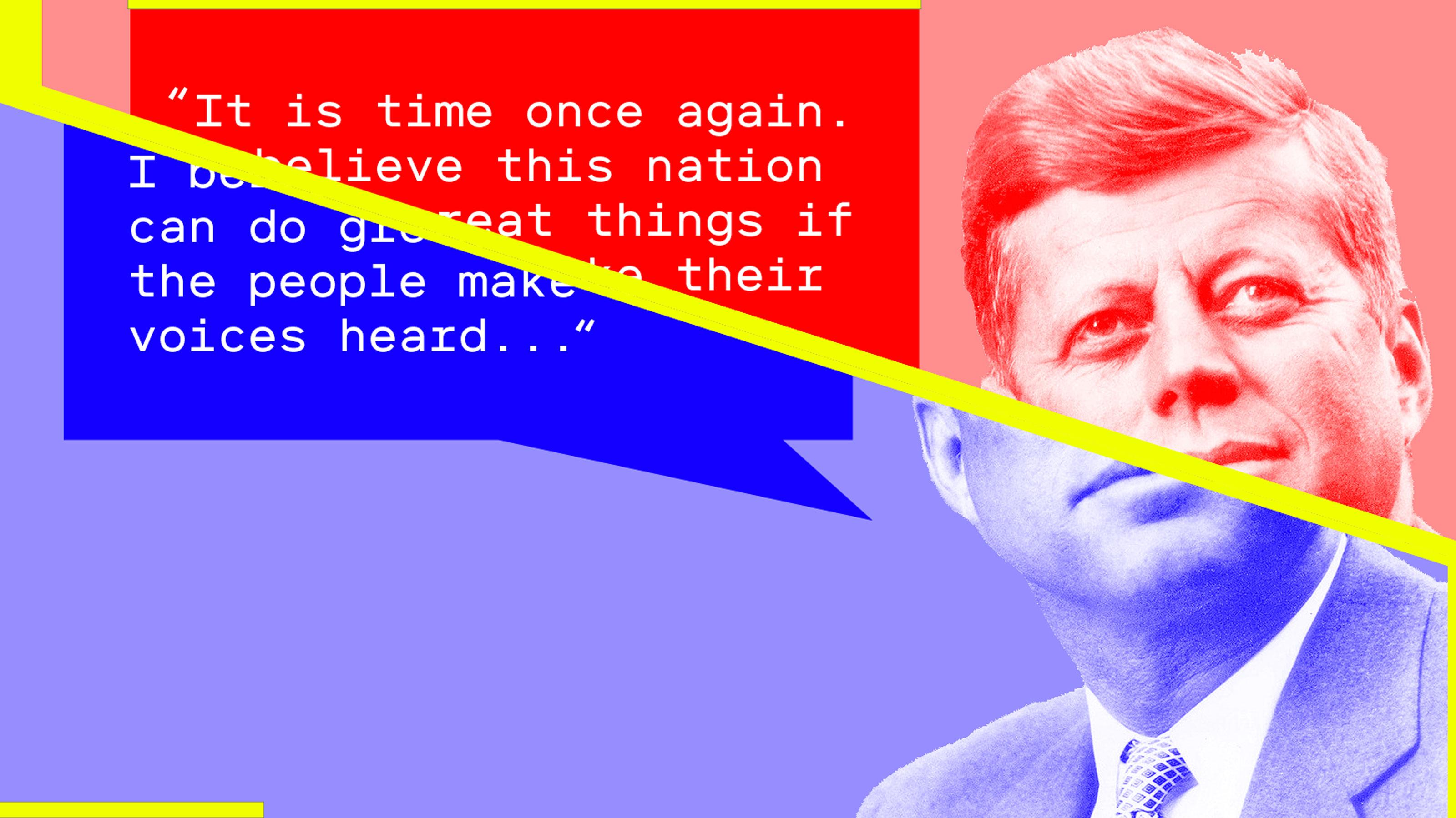 Photo illustration of JFK delivering fake speech