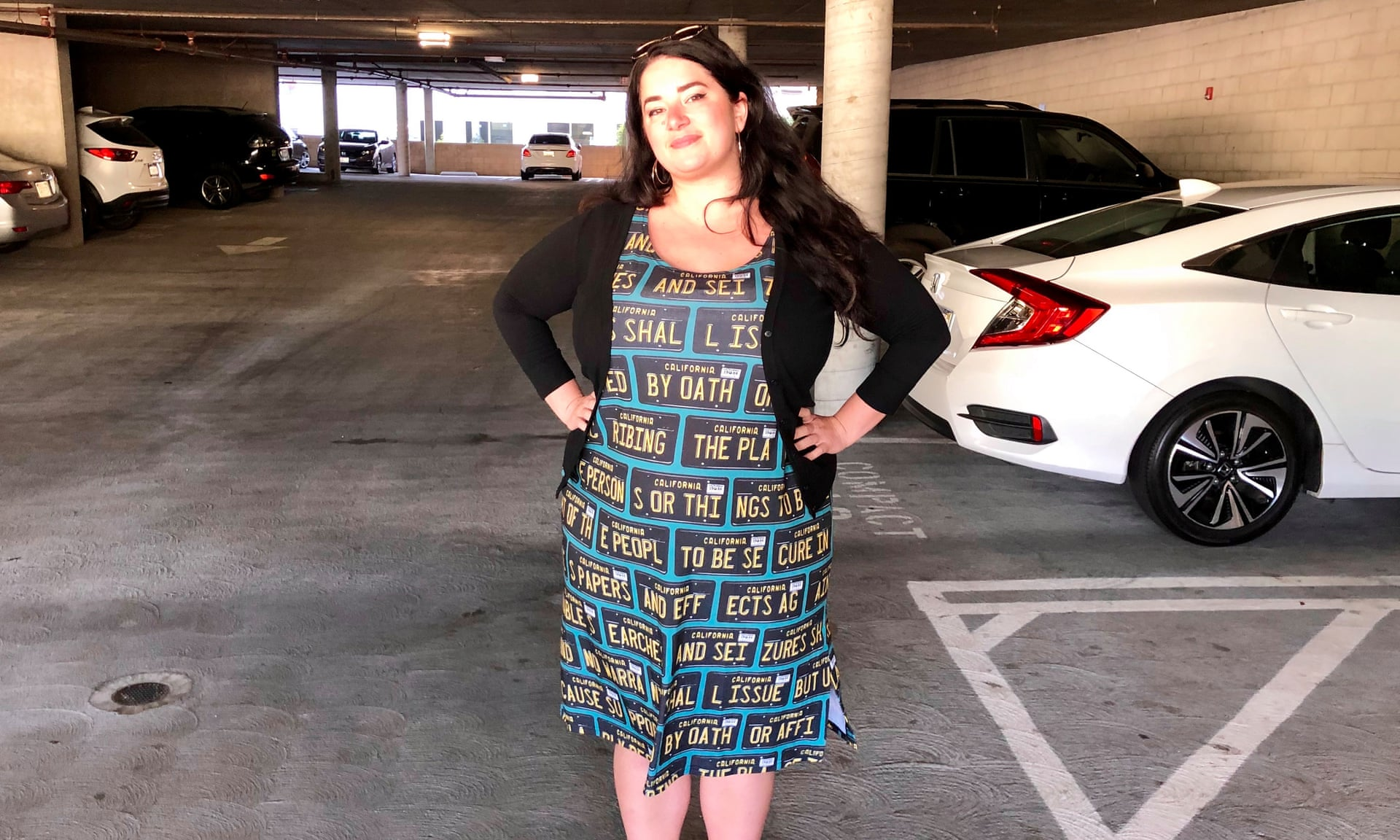 Kate Rose demonstrates an anti-surveillance dress