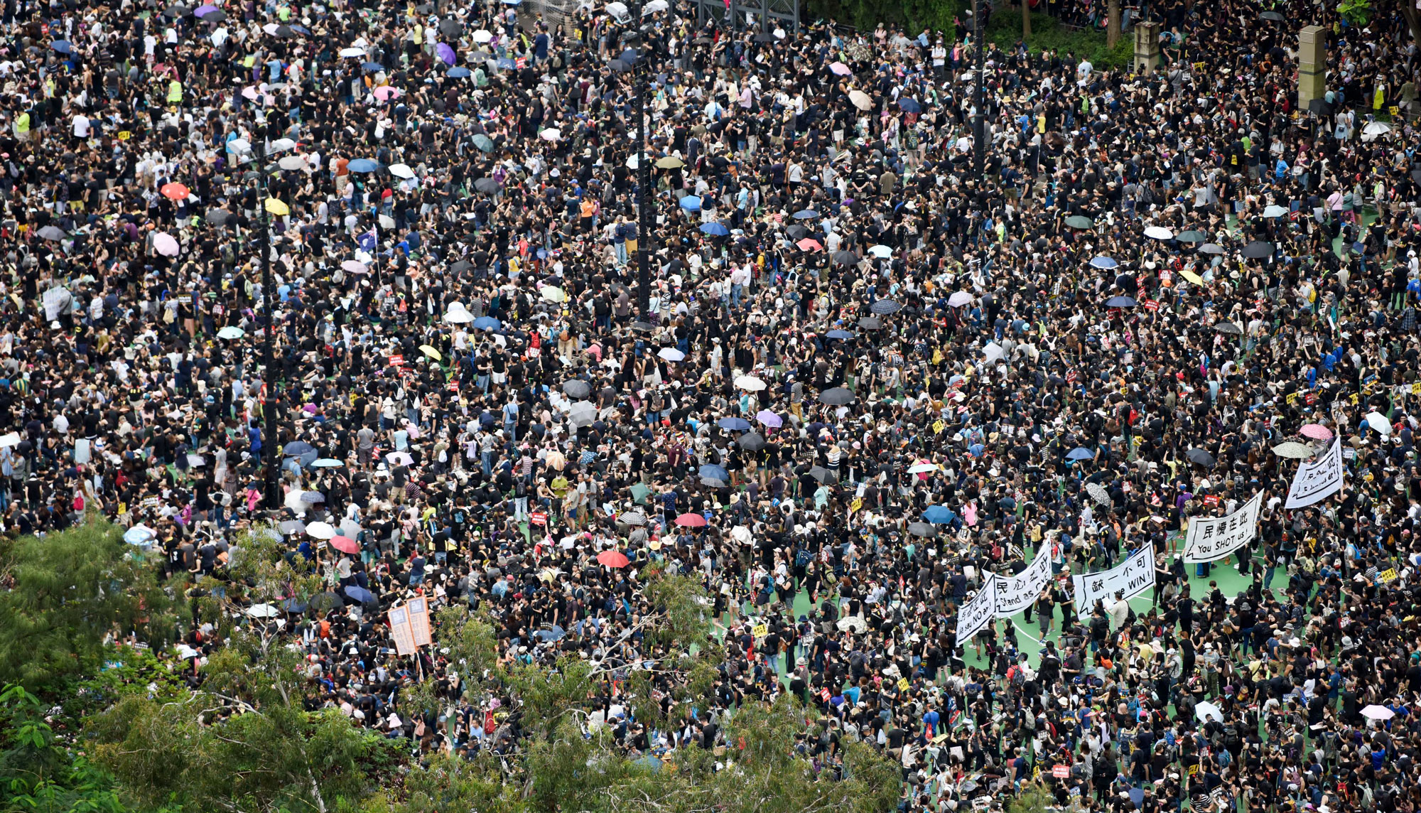 Protestors gather in Hong Kong's Victoria Park on Sunday August 18 2019
