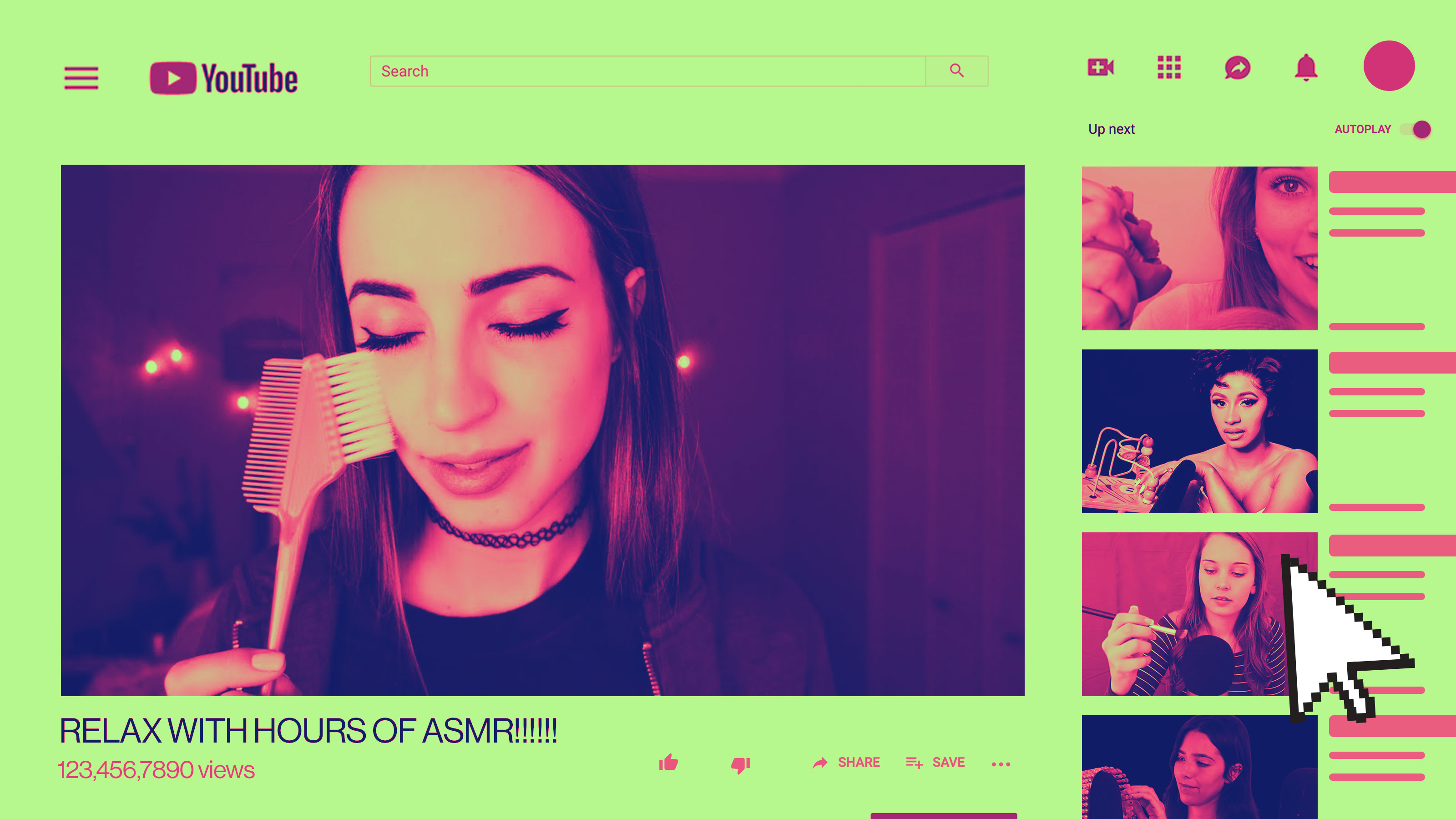 Illustration showing YouTube interface with ASMR videos