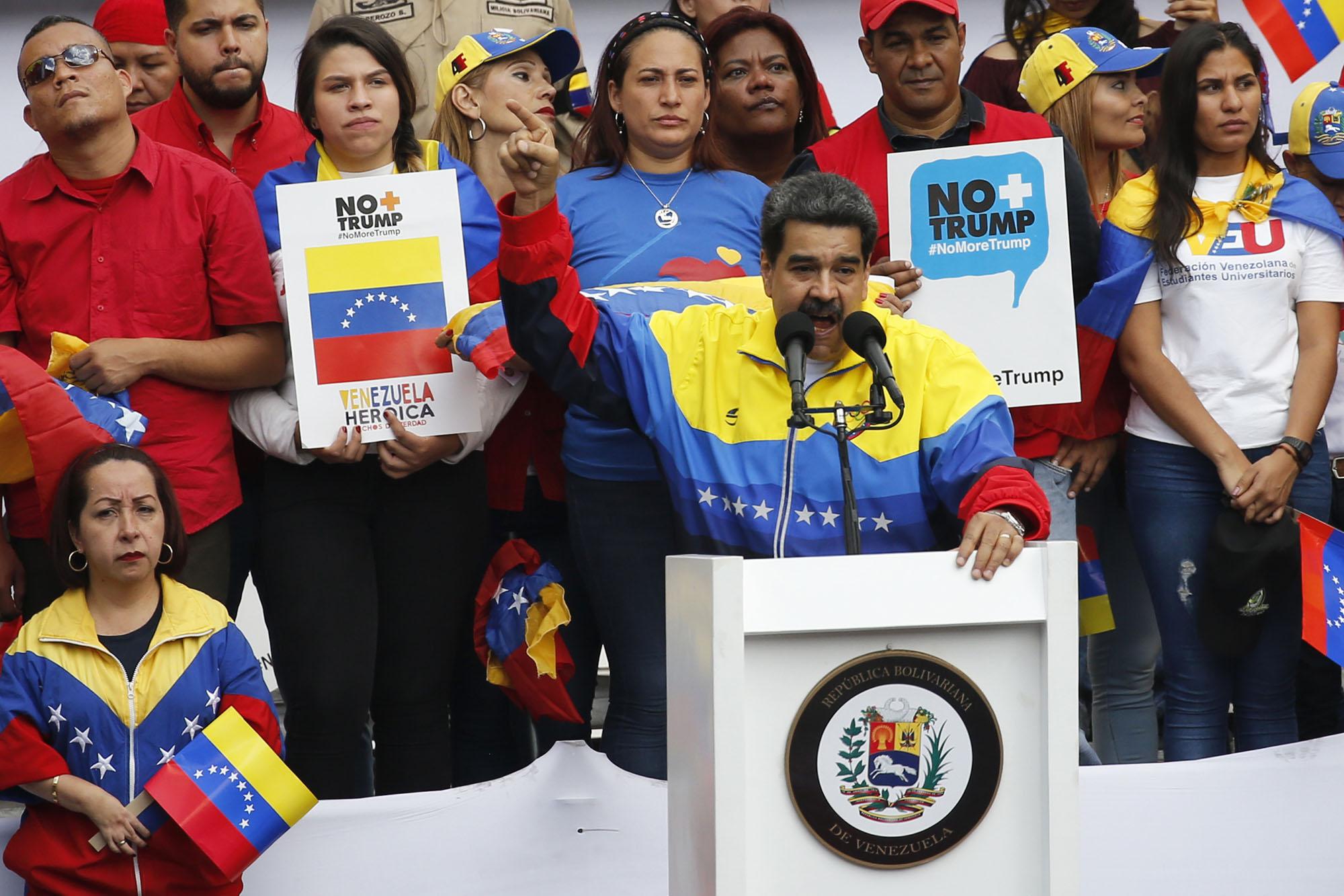 Venezuelan president Nicolas Maduro addresses a crowd at a rally condemning US sanctions.