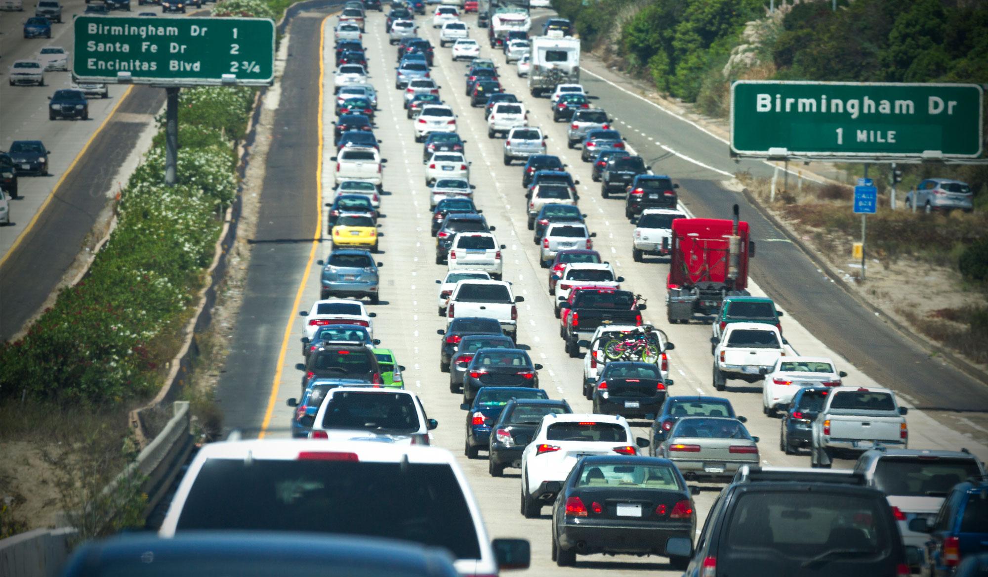 Cars queuing in California