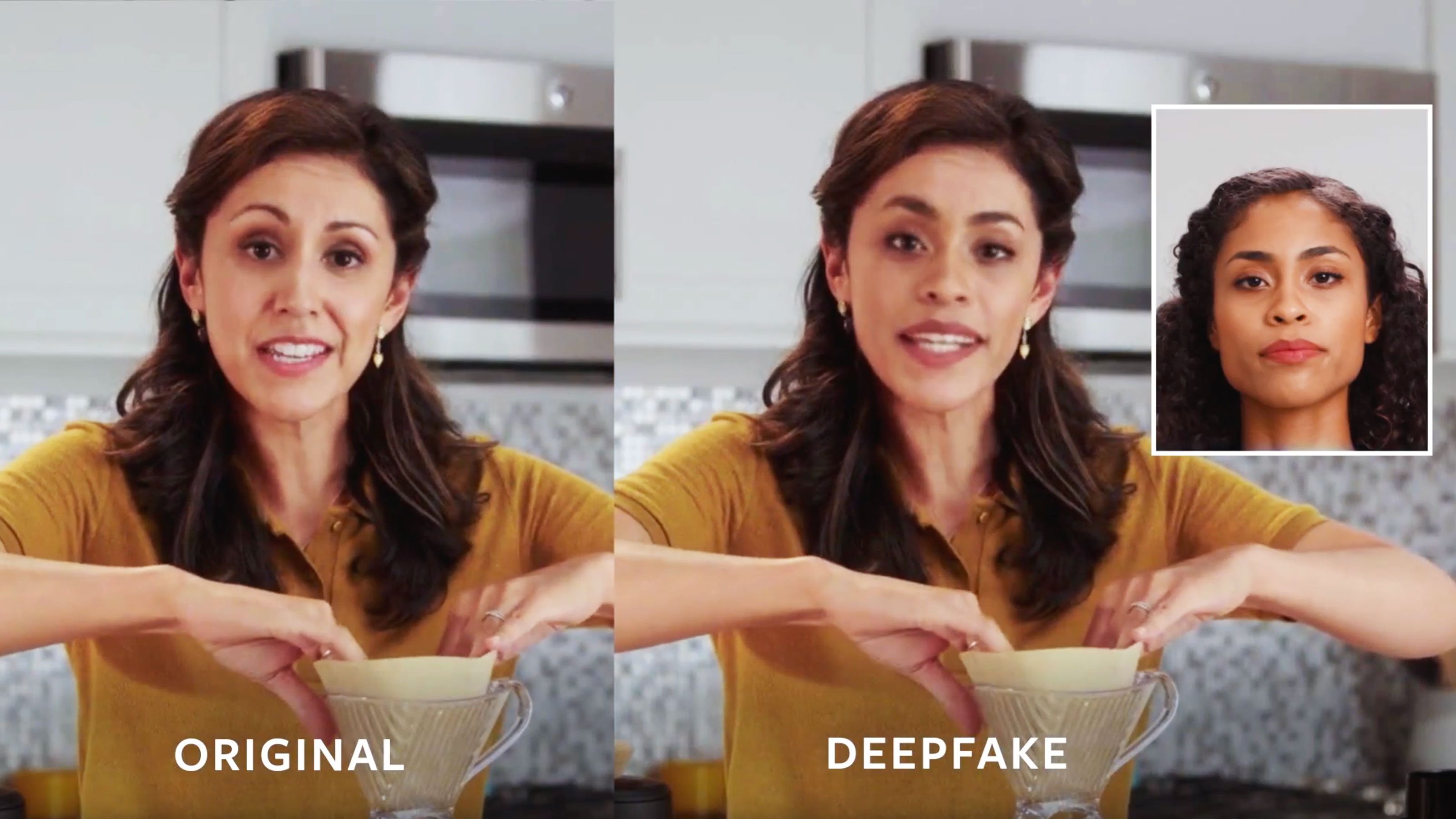 Side-by-side images of original video and deepfake.