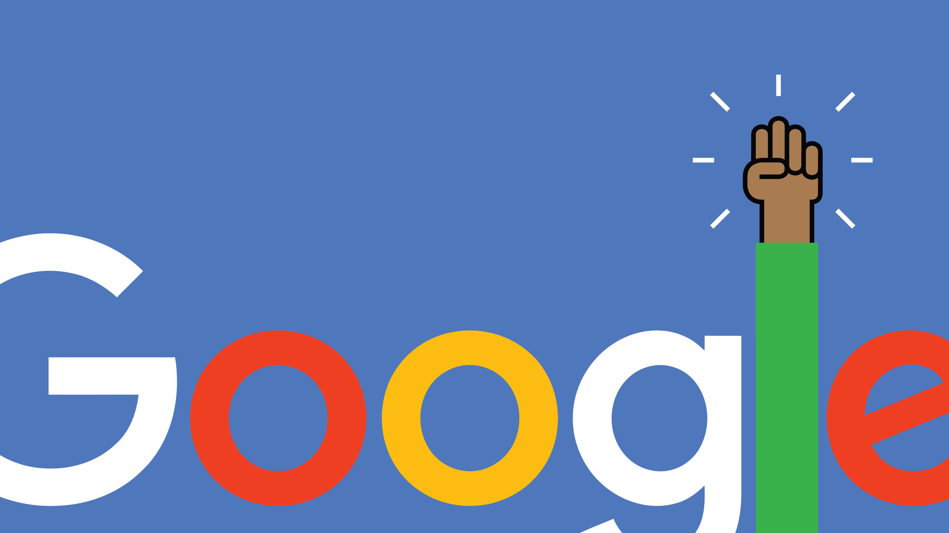 Illustration of Google logo with letter L as a raised arm/fist in the air
