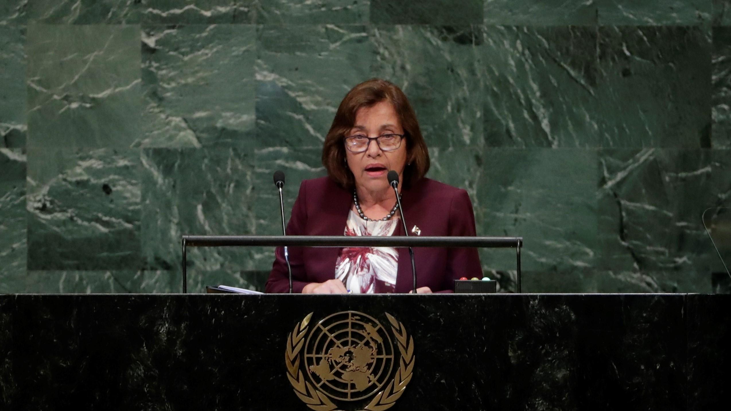 Marshallese President Hilda Heine speaking to the United Nations.