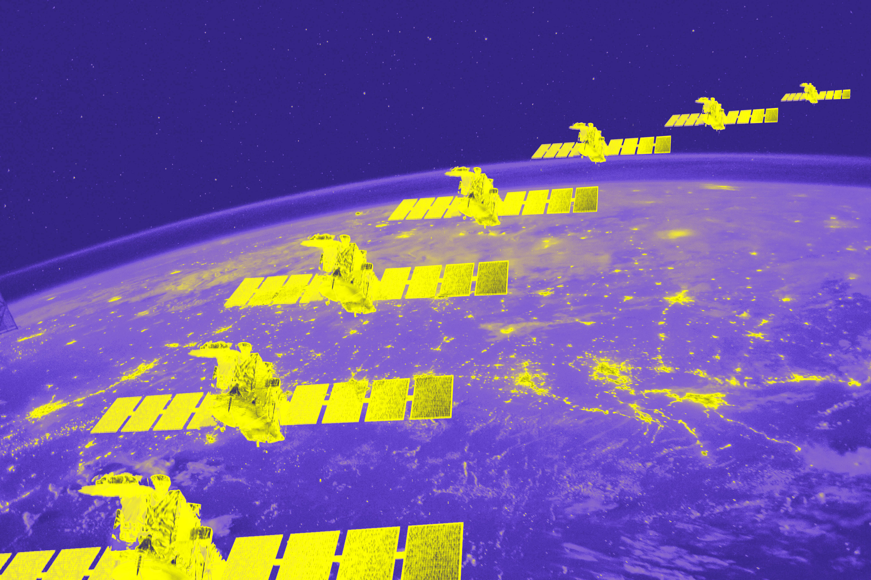 Photo illustration of satellites surrounding earth