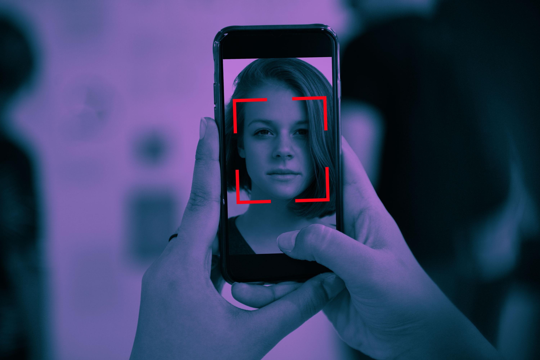 A woman takes a selfie