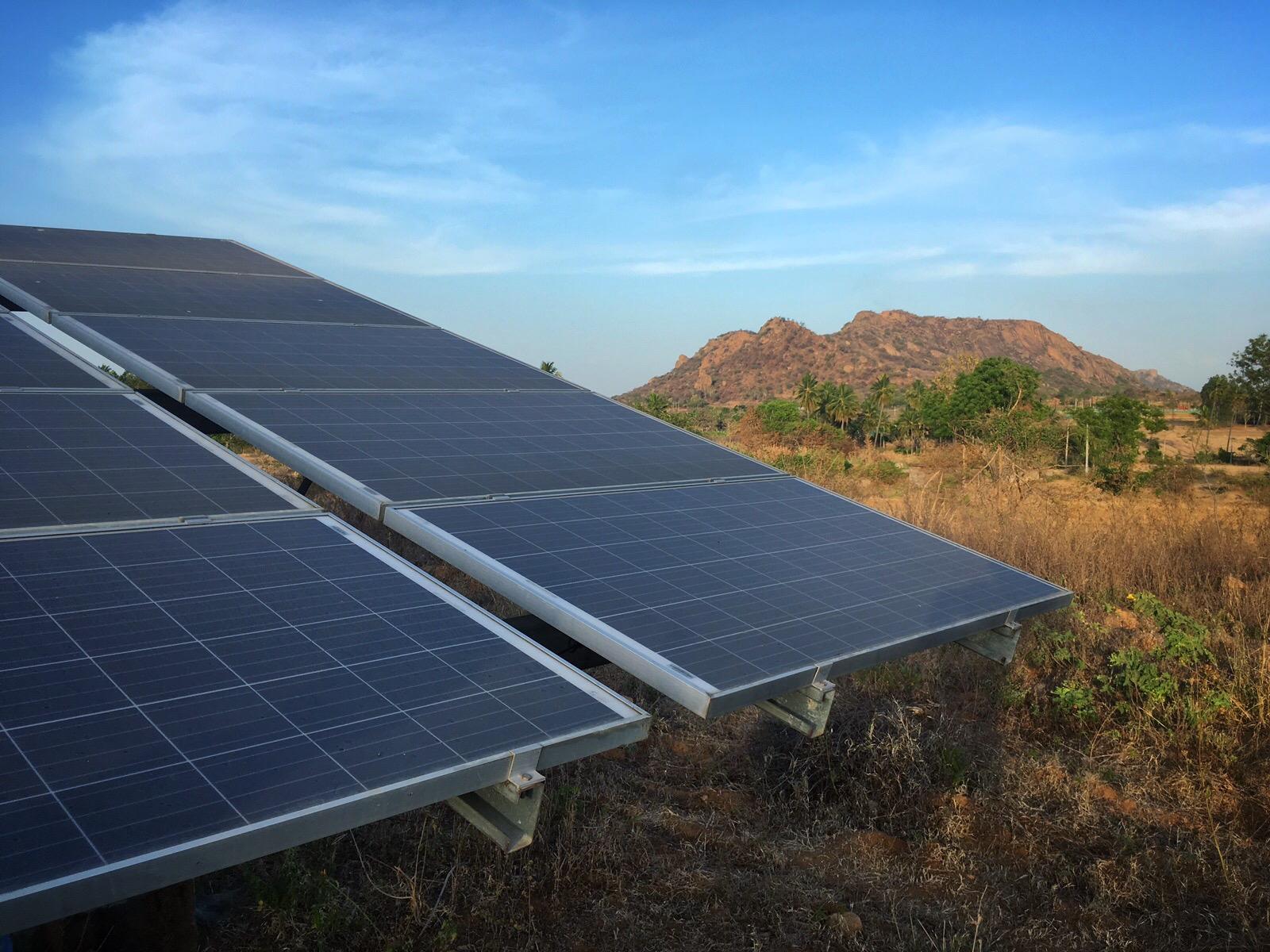 Solar panels on a farm in Karnataka.