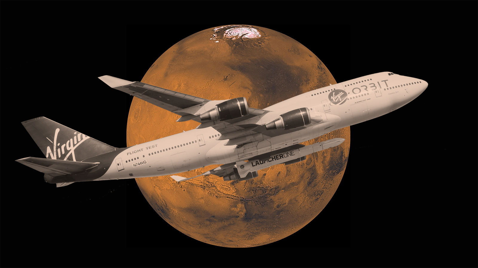 Photo illustration of Mars and Virgin's LauncherOne