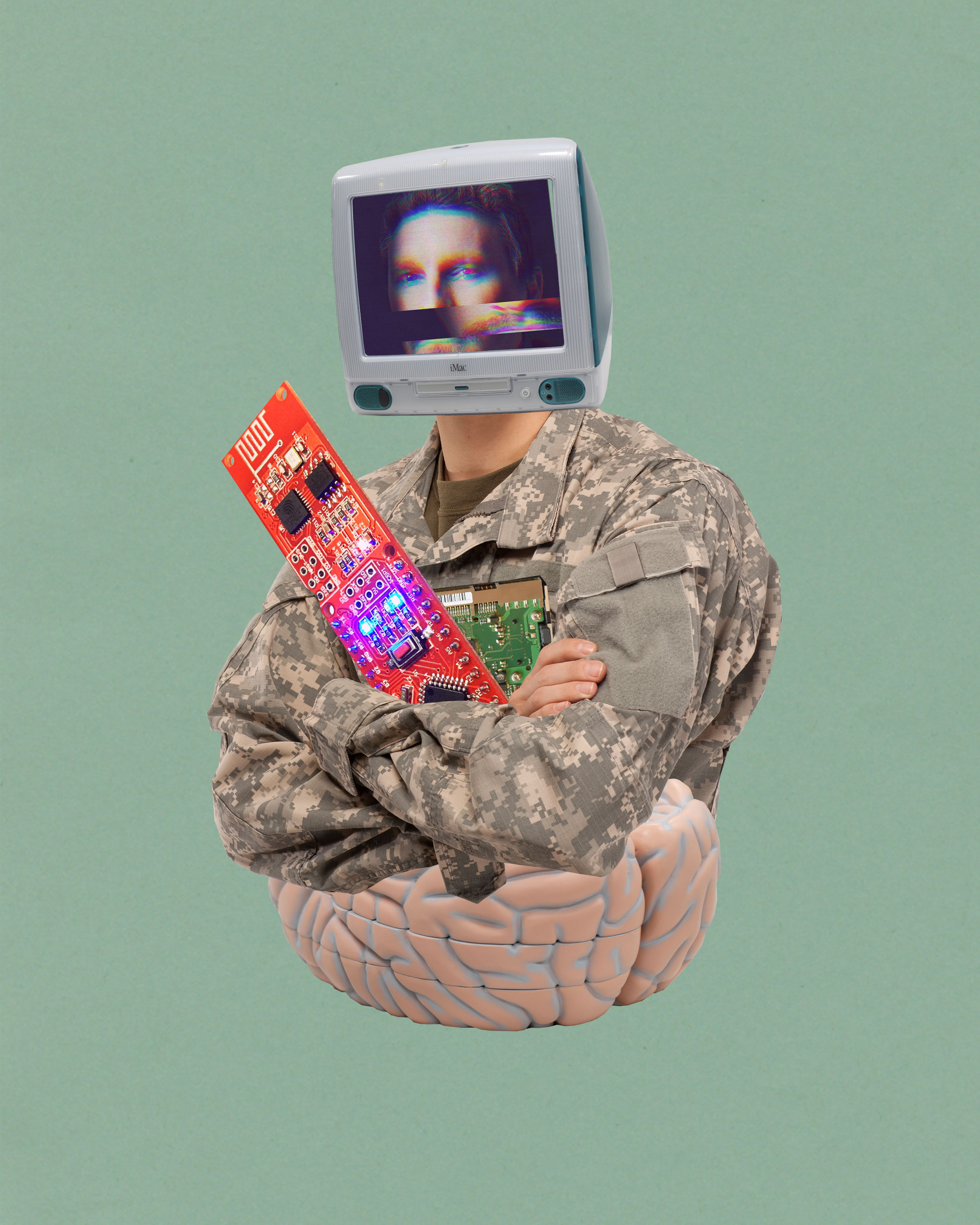 Photo illustration of soldier and brain interfaces