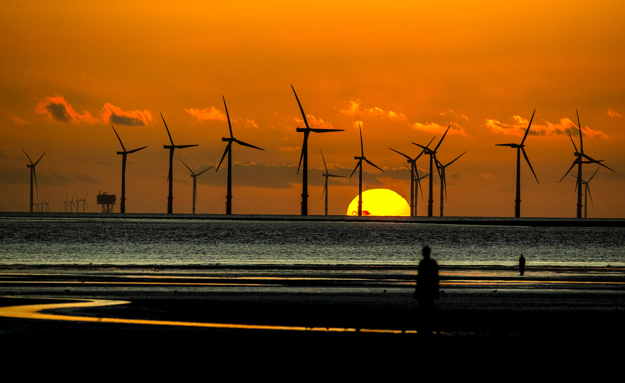 A wind farm off the UK coast