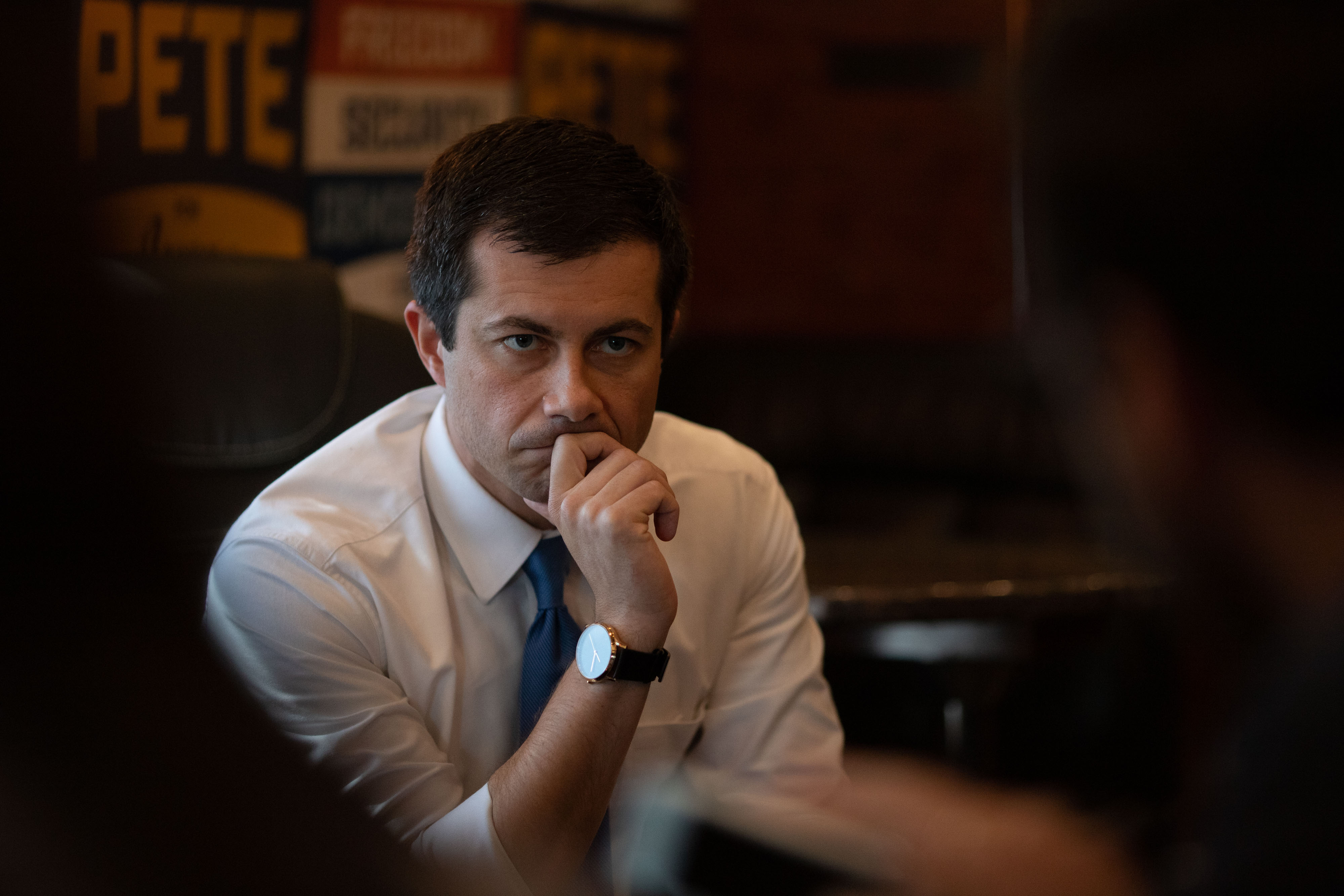 mayor pete buttigieg mayo pete sitting with hand on chin tiktok election 2020 bernie sanders elizabeth warren andrew yang panic at the disco high hopes