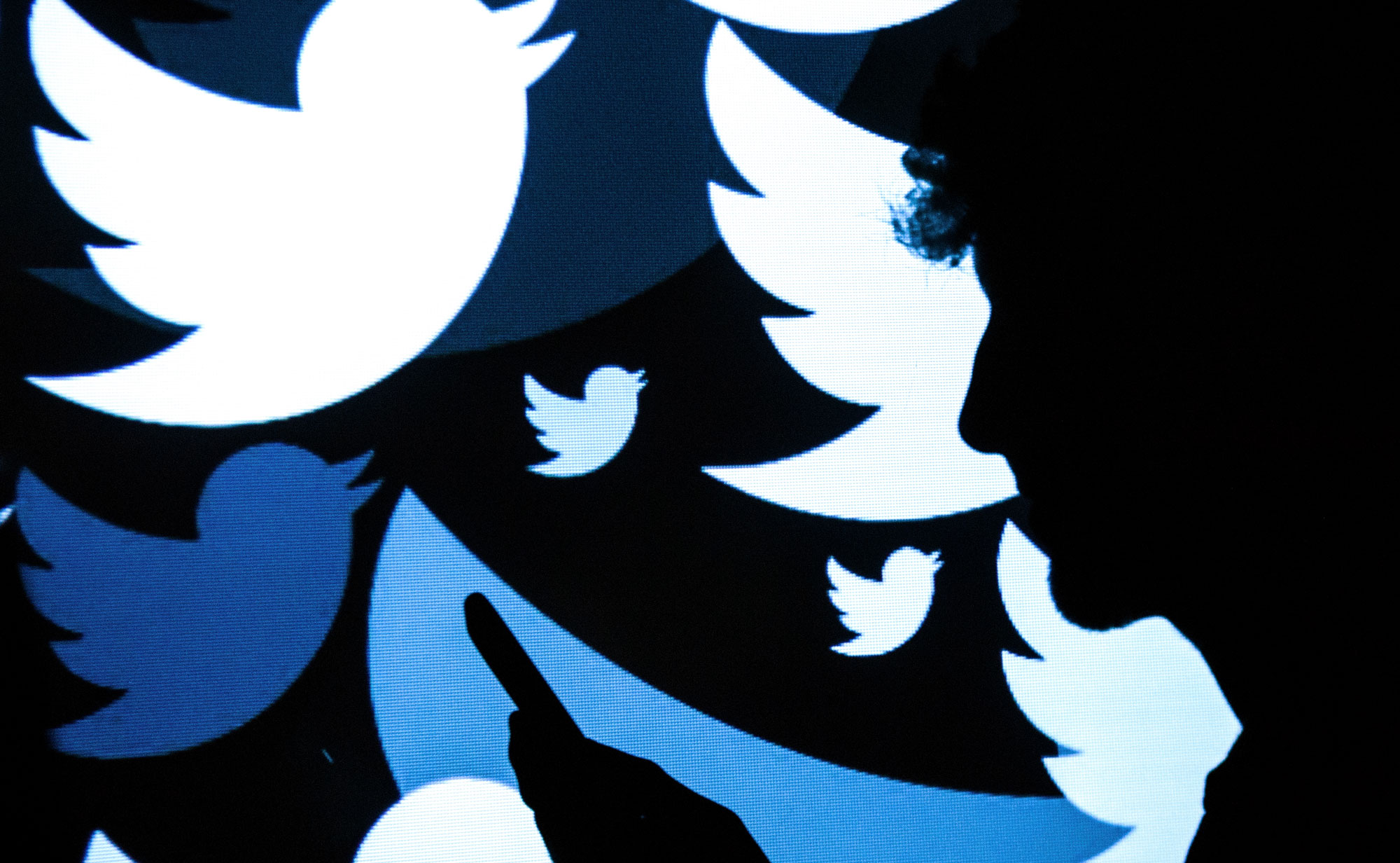 A silhouette of a man standing in front of a screen with Twitter logos on it