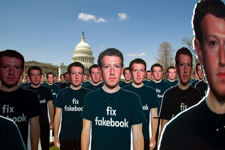 Zuckerberg cutouts on Capitol Hill