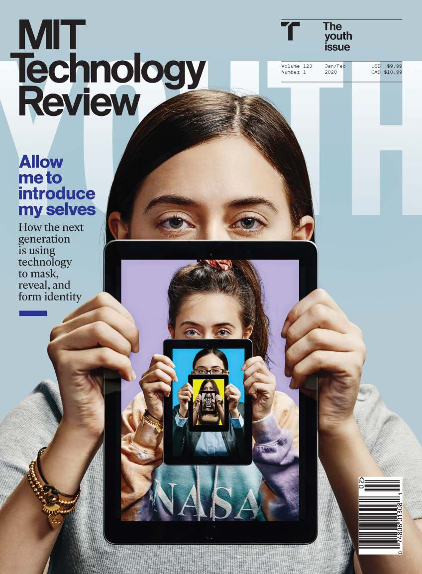 """""""MIT Technology Review"""" written in white letters on a light blue background and a photo of a woman holding an iPad."""