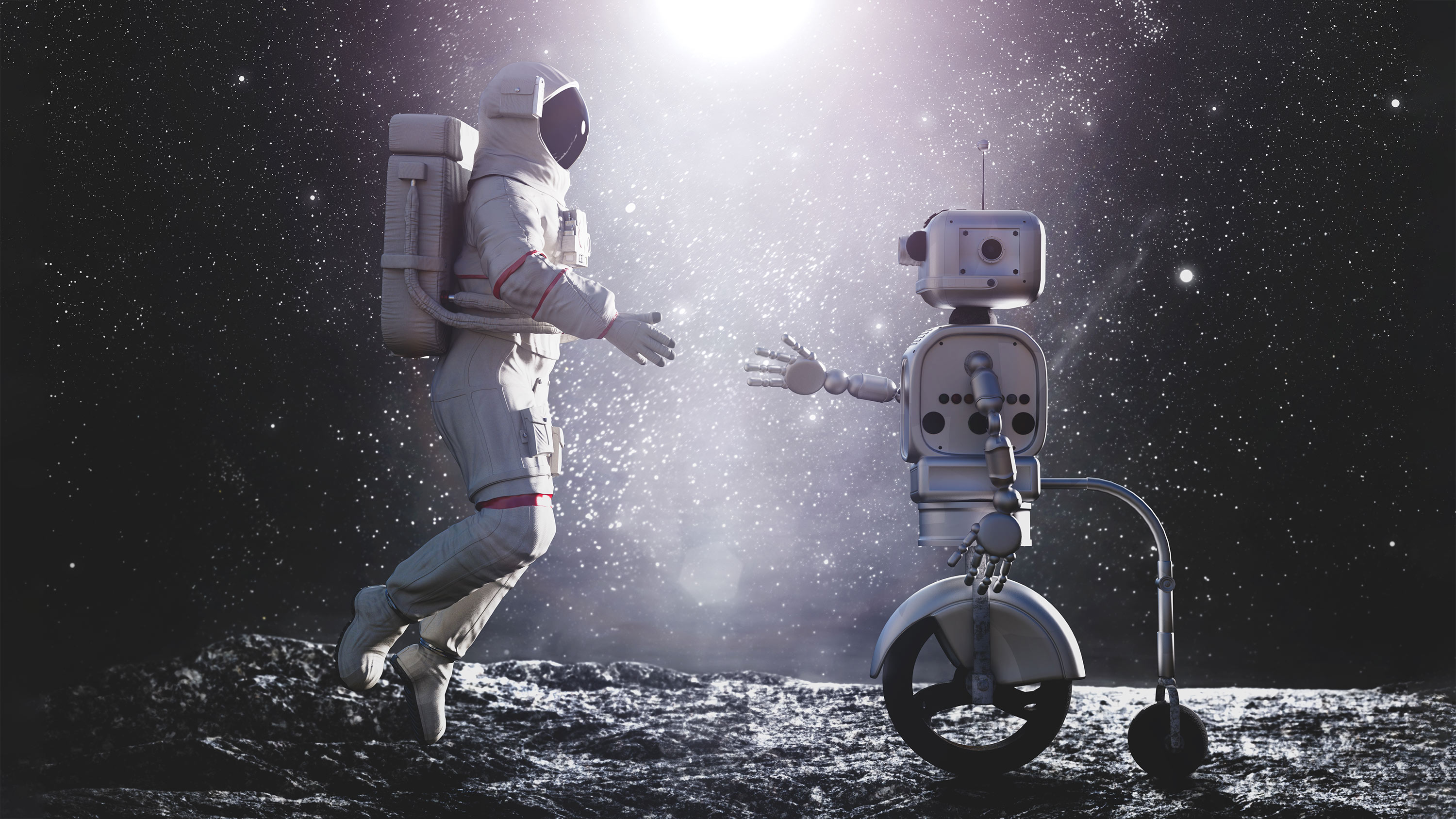 Rover Ai helping and astronaut