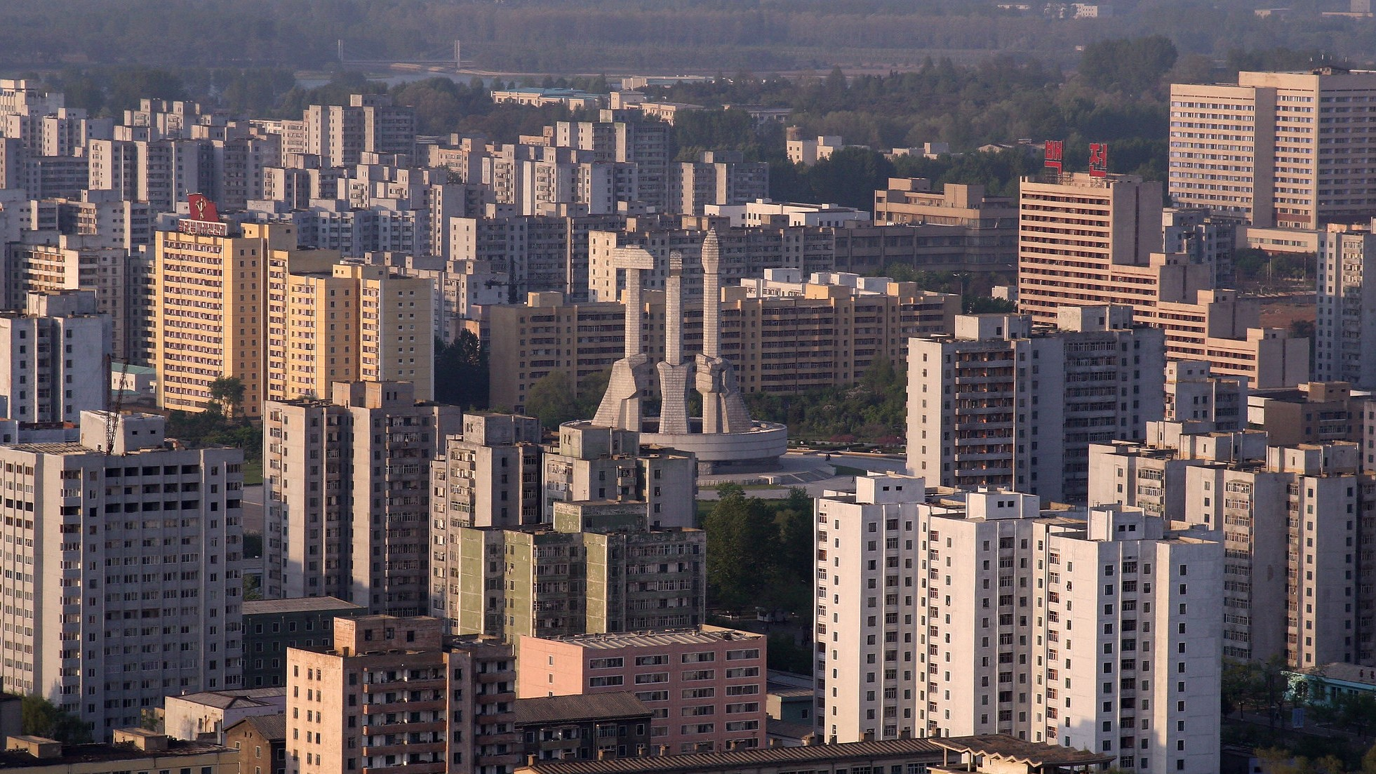 Skyline of Pyongyang, North Korea