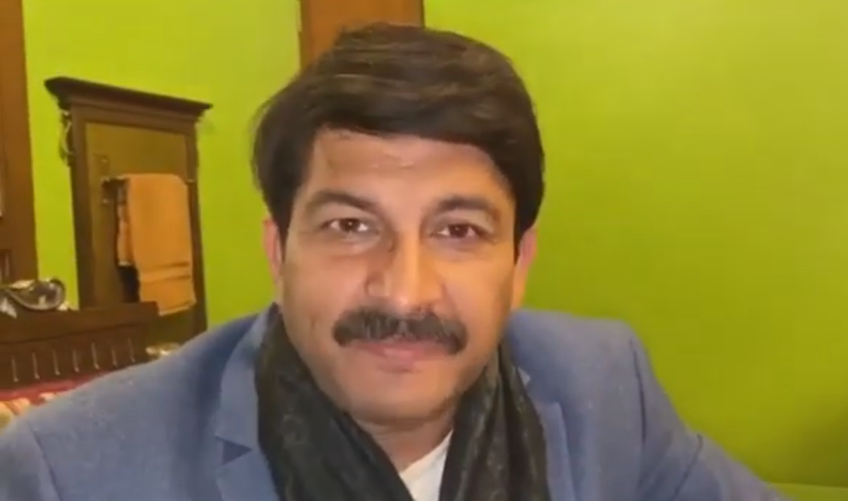 A still of a deepfake video of Indian politician Manoj Tiwari